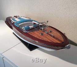 Riva Lamborghini Aquarama 34 Model Boat En Bois L90 CM Fait Main Bateau Italien De Vitesse