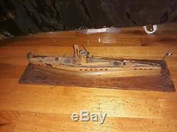 Seconde Guerre Mondiale Prisonnier De Guerre Italiens Bois Modèle Italie Navire Bateau Sous-marin Pow Art Des Tranchées