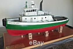 Shelley Foss Rc Remorqueur Vtg 100% Construit Modèle Tugboat Avec Moteur En Bois, Stand En Bois