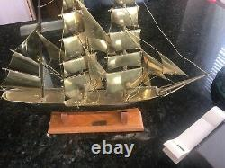 Solid Brass Vintage Sail Boat Ship Model Nautical The USA Eagle W Wood Stand