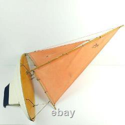 Star Classic Vintage Large Wood Model Boat Réglable Sailing Boating Pond Yacht