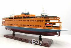 Staten Island Ferry Boat Modèle En Bois 24 Statue De La Liberté Handcrafted Navire