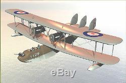 Supermarine Southampton Raf Flying Boat Aircraft Bois Grand Modèle Livraison Gratuite