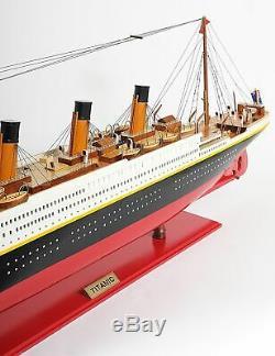 Titanic Peint Grand Modèle 56 Affichage Des Navires De Croisière En Bois De Collection Décor Cadeau