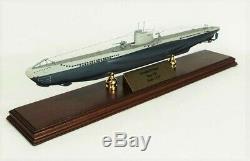 U-boat Submarine Desk Top Affichage Sous Bois 1/125 Guerre De La Marine Ww2 Modèle De Navire