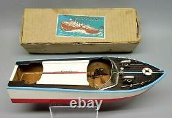 Ultra Rare Vintage Msk Japan Wood Modèle Bateau À Vitesse Toy & Box Mint No Reserve