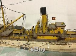 Useg Meade Dredge Modèle Toy Boat Vintage 1900 Bois