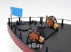Uss Monitor CIVIL War Ironclad Us Navy Warship 25 Bois Modèle Bateau Assemblé