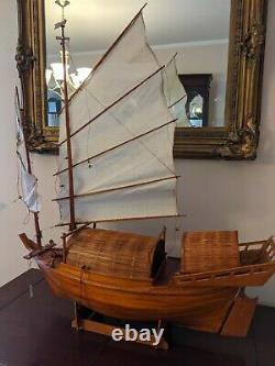 Vieux Chinois Junk Clipper Wood Model Boat Assembled Hand Made 27 Large