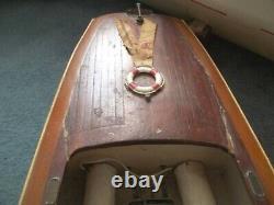 Vintage 1948 Wood Chris-craft Modèle Électrique Boat-home Construit- Fer Cross Drapeau