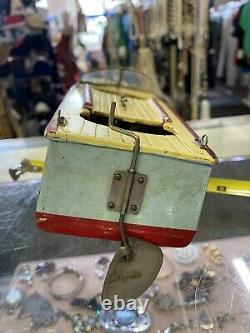 Vintage 1950 Modèle En Bois Speed Boat Batterie Fonctionnant Avec Moteur Non Testé