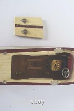 Vintage 1950's Ito Model Kk Seisakusho Wood Model Boat Withmotor Japon