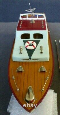 Vintage 1950's Mhm Japan Wood Cabin Cruiser Battery Op Model Boat 14 Nice