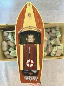 Vintage 1950's Rico (japan) Boat De Modèle De Bois Poudre 9 1/2 Travaux Grands