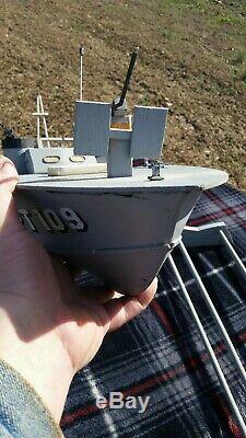 Vintage 33 Pouces En Bois Pt 109 Torpilleur Radio Control Model World War 2 Deux II