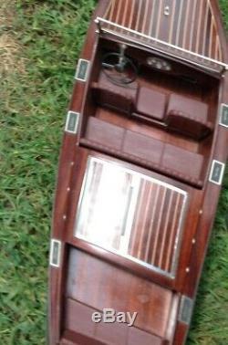 Vintage 36 1930 Chris Craft Runabout Kit De Bateau Modèle En Bois Jouet R / C