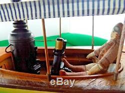 Vintage All Wood African Queen Modèle Bateau Sur Le Stand Pour L'affichage 30 Long