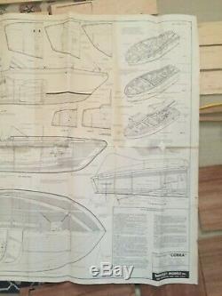 Vintage Berkeley Chris Craft Modèle Cobra Bois Et Balsa Boat Kit 1950 31 Pouces