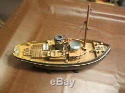 Vintage Bois Maritime Ship Modèle 20 Long Ocean Rivière De Travail Pour Bateau Affichage