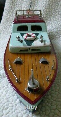 Vintage Des Années 1950 Mhm Japan Wood Cabin Cruiser Battery Op Model Boat 14