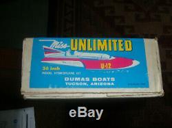 Vintage Dumas Boats Company Mlle Hydroplanes Illimités Bois R / C Modèle Kit