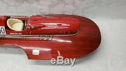 Vintage Ferrari Hydroplane Modèle Bateau Avec Cuir Blanc Rare
