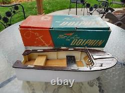 Vintage Fleetline Dolphin Bois Modèle En Plastique De La Batterie Toy Speed boat # 500 Withbox