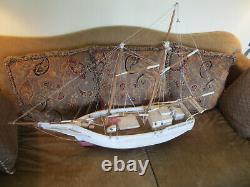 Vintage Grand 41 Chesapeake Bay Pungy Voilier Modèle Folk Art Bateau Construit À La Main