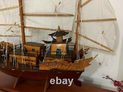 Vintage Grand Chinois Chinois / Bateau Sculpture En Bois / Modèle Fabriqué À La Main