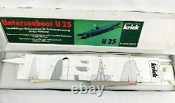 Vintage Krick U25 Sous-marin R/c Modèle Kit #20220 (unterseeboot U25) Bois/plastique