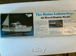 Vintage Le Bateau Tous Maine Lobster Affichage En Bois Modèle Bois Midwest Ouvert Boîte