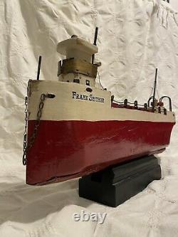 Vintage Modèle De Bateau D'étang Des Grands Lacs Frank Ou Bien Bateau De Minerai