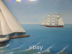 Vintage Navire Diorama Marine Scène Shadow Box Moitié Modèle Voile Boat Schooner