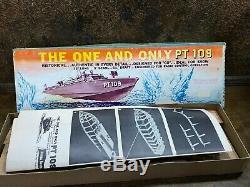 Vintage Nos Us Navy Pt 109 En Bois Torpedo Patrouille Modèle En Bois Bateau Kit Box 33 In