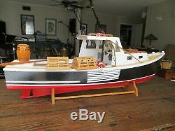 Vintage Rockport Maine Lobster Boat Modèle À La Main, Pas Un Kit, Grand Magnifique