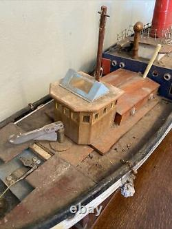 Vintage Scratch Construit En Bois Rc Tug Boat Modèle 38 Pouces De Long