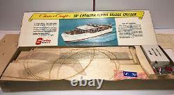 Vintage Sterling Modèles En Bois Chris Craft Catalina 50' Flying Bridge Boat Kit