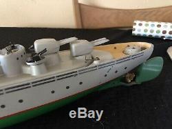 Vintage Wood Toy Bateau Sous-marin Italien Ventura Tc17 Battery Operated Modèle