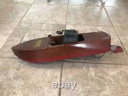 Vintage Wood Toy Seaworthy Boat Modèle 65