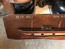 Vintage Wooden Half Hull Modèle Navire Blue Bird Maritime Marine Nautique Bateau