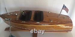 Vtg Speed boat 18 Bois Modèle Assemblé Par Authentic Models # Asa024 Boîte Originale