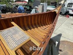 (c) 1980 Old Town Otca Modèle Canoe 17' Fibre De Verre En Bois Bateau D'origine Complet